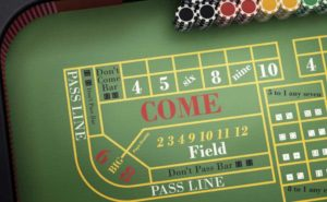 Craps table with Bet Types